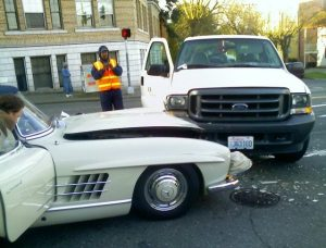 Mercedes Benz SL 300 Gullwing crashed into a ford super duty truck