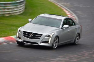 2014-Cadillac-CTS-Vsport-front-three-quarters-view-on-Nurburgring