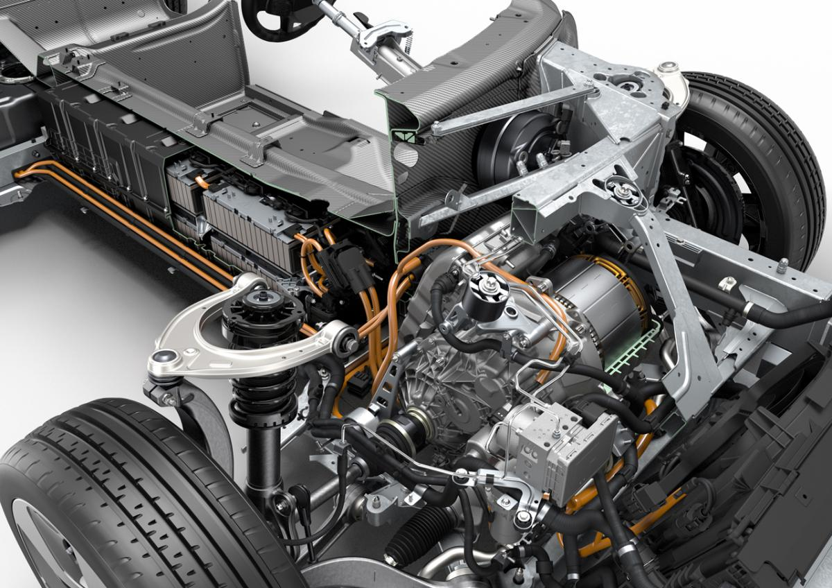Rendering of the BMW i8 Engine
