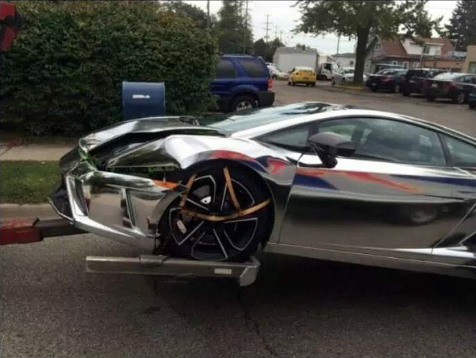 Chrome Lamborghini Crash 1
