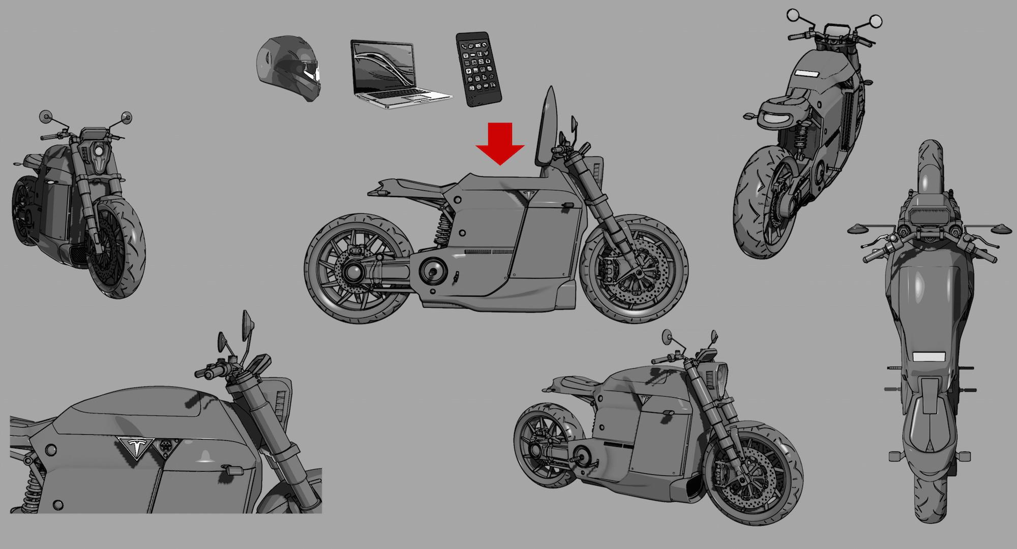 Tesla Motorcycle Concept - Tesla Model M 3