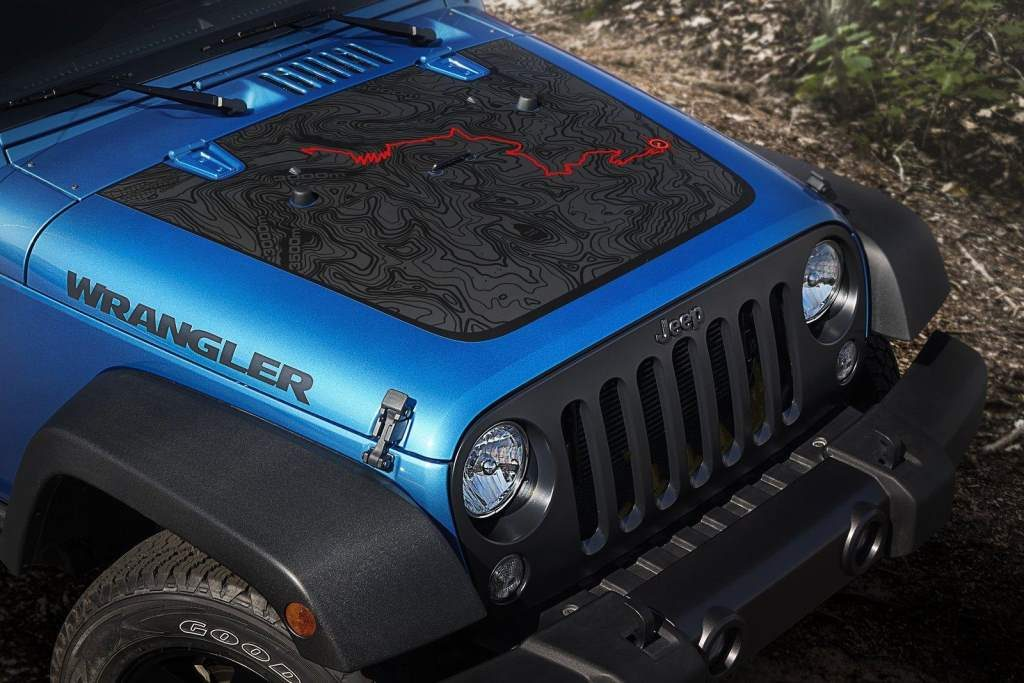 The Black Bear Trail Map is imprinted on the hood of the 2016 Jeep Wrangler Black Bear Edition