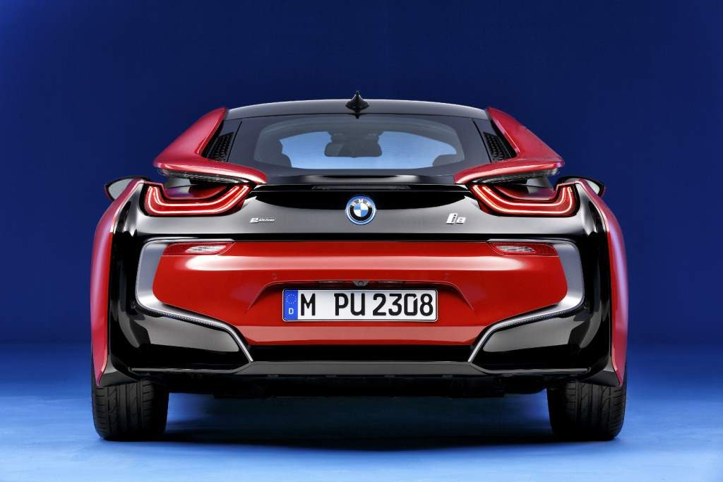 Red i8 Rear View