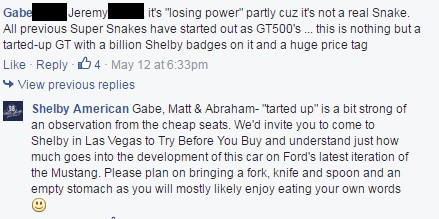 2016 Shelby Super Snake FB comment