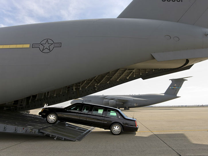 carrier plane, C-17 Globemaster has the room to carry two Beasts and a secret service SUV.