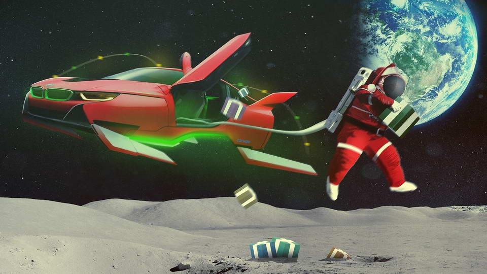 Santa Claus Car - Space Flight Capable BMW i8