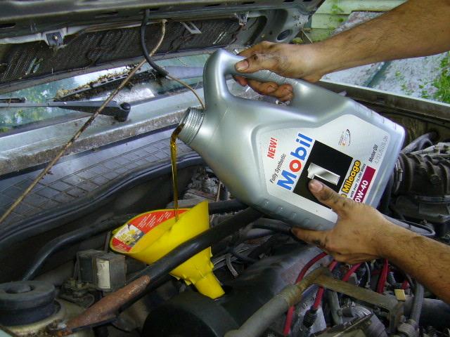 Car receiving an OIL CHANGE