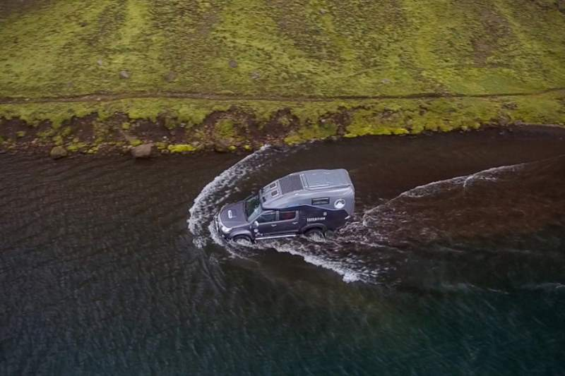 Toyota Hilux Expedition V1 Camper Fording water overhead