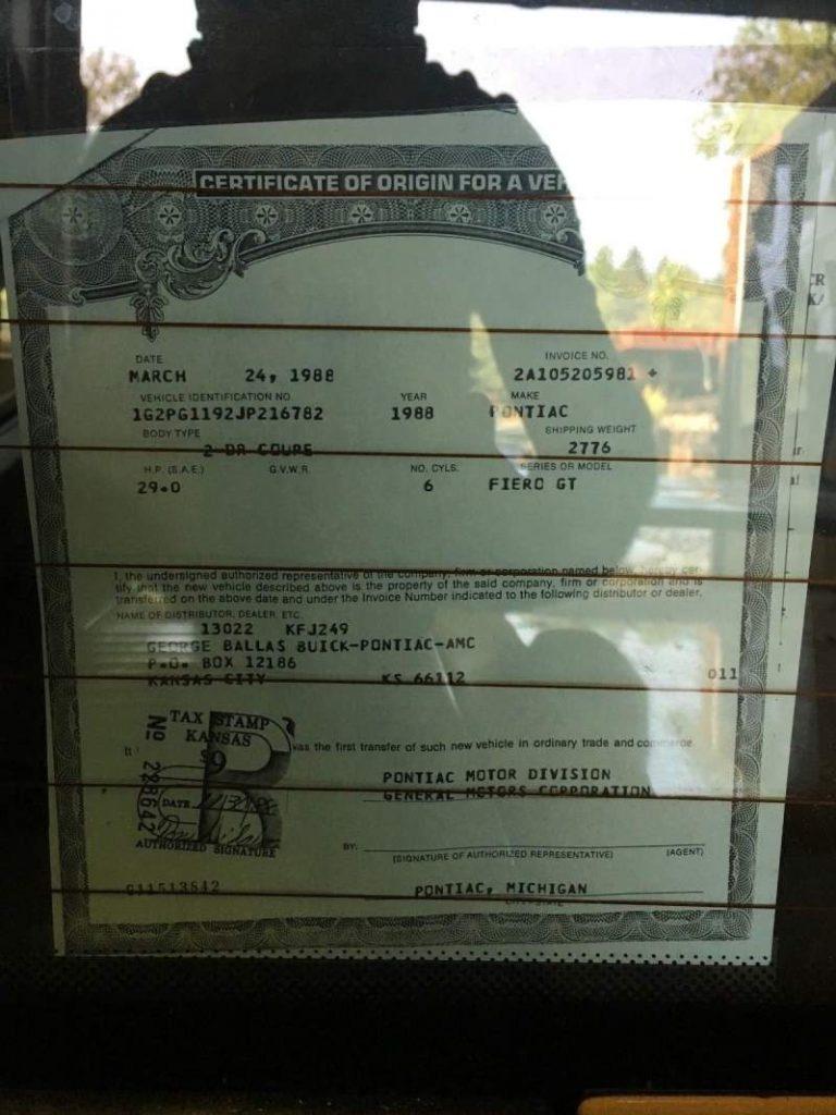 1988 Pontiac Fiero Title