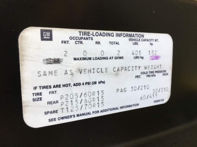 1988 Pontiac Fiero Tire Info