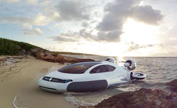 Electric Concept Cars - Volkswagen Aqua Curvy Hovercraft Front 3/4