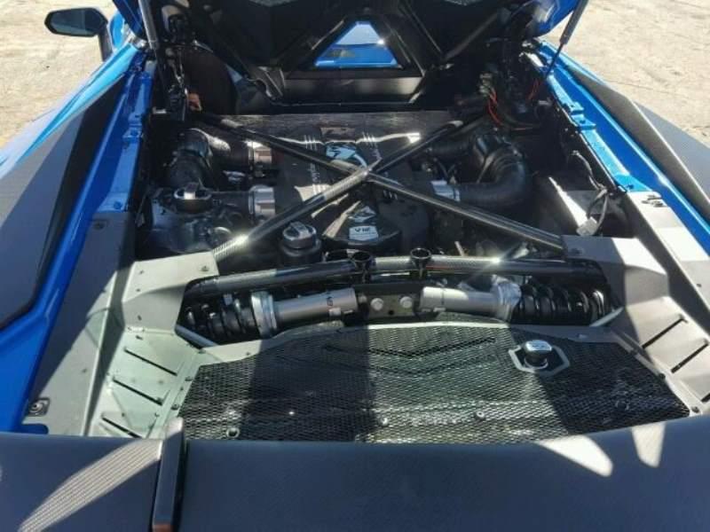Wrecked Lamborghini Aventador SV Roadster engine bay