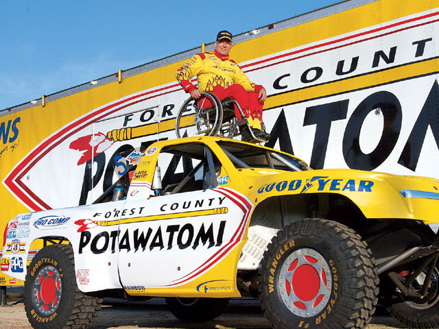 Evan Evans is the only driver to use hand controls in a trophy truck.