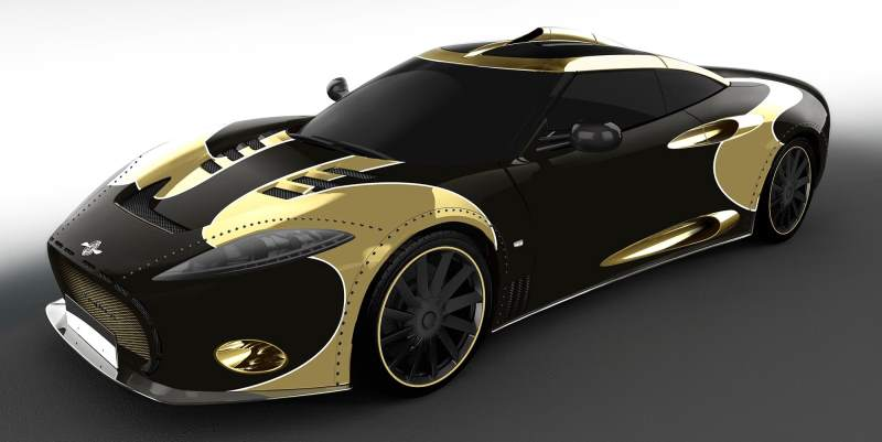 spyker c8 aileron lm85 black and gold