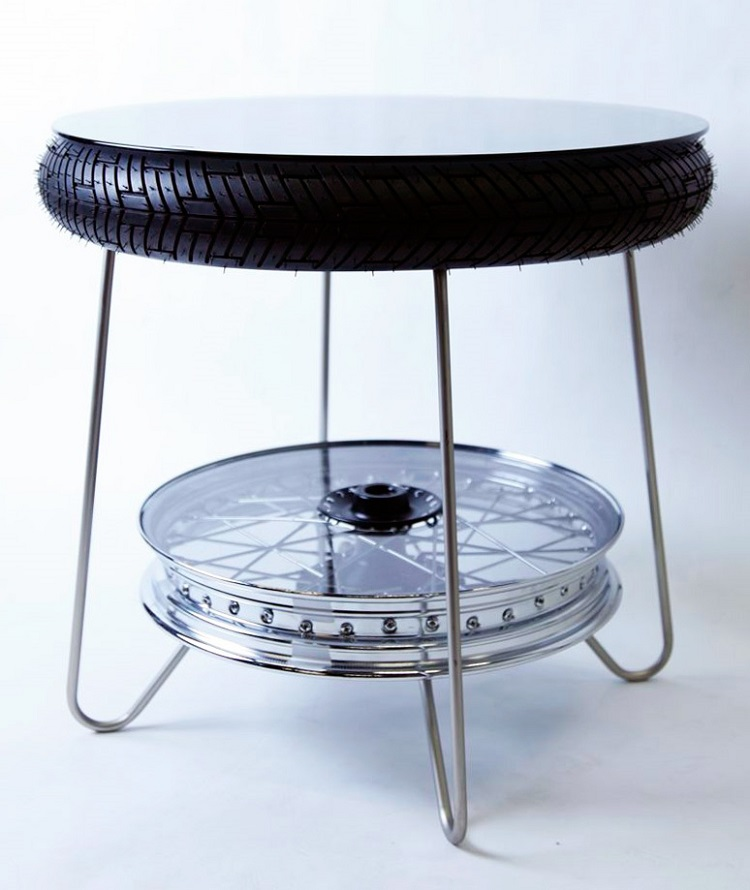 Upcycled Motorcycle Salvage - Motorcycle Wheel Coffee Table