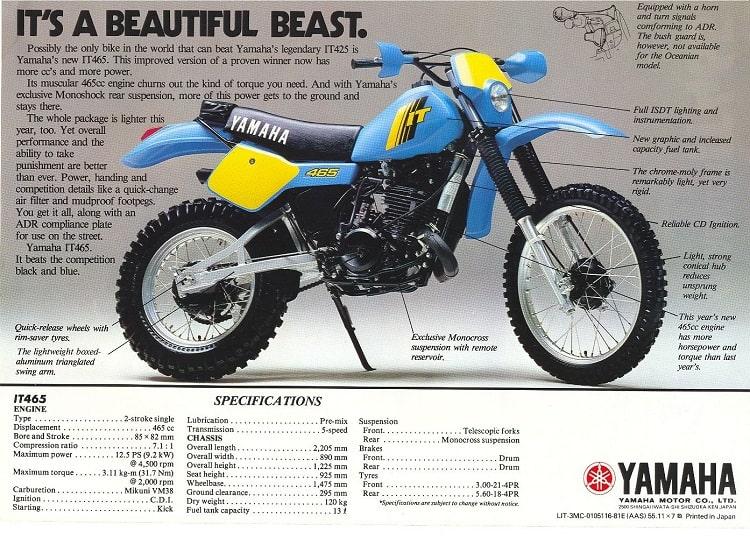 Yamaha Dirt Bikes - Yamaha IT465 PR