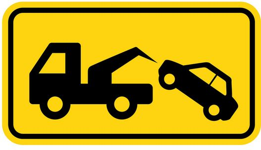 Car being towed sign