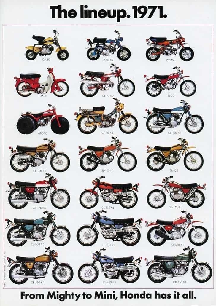 Vintage Honda Motorcycles - line up