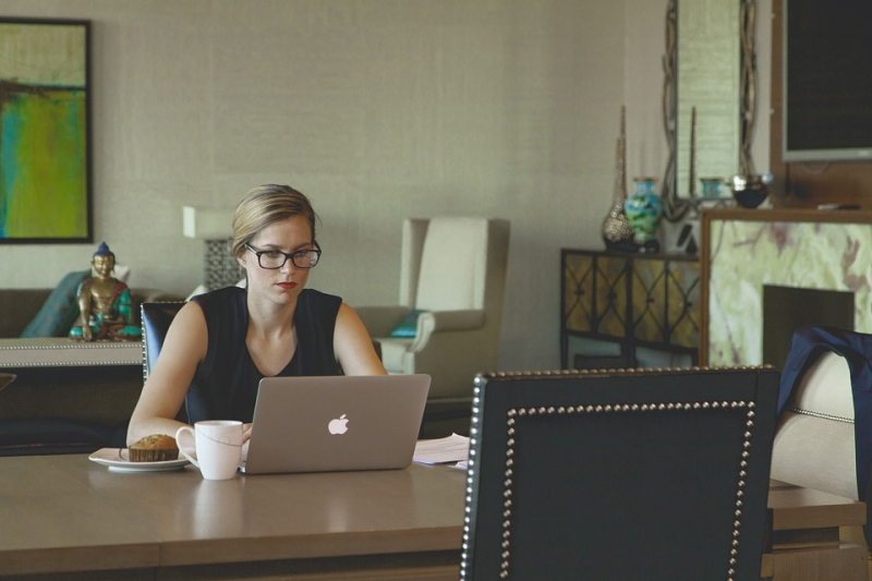 woman on computer - researching