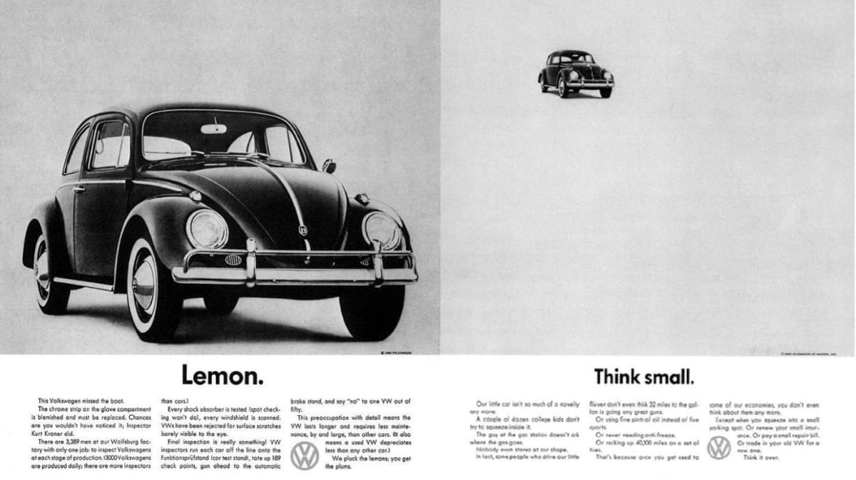 Think Small - volkswagen ad campaign