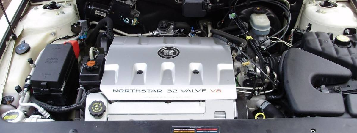 2001 Cadillac Northstar engine - under hood view